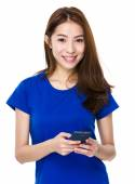 Asian woman in blue t shirt — Stok fotoğraf