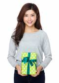 Young asian woman in grey sweater — Stock Photo
