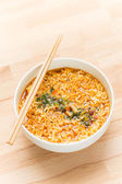 Instant noodle with chopsticks — Stock Photo