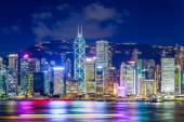Hong Kong city lit up at night — Stock Photo