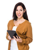 Caucasian pretty woman in brown cardigan — Stock Photo