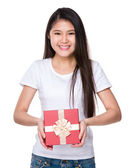 Asian young woman in white t-shirt — Stock Photo