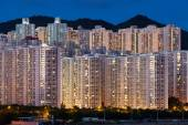 Hign density residential building in Hong Kong at night — Stock Photo