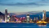 Hong Kong city skyline at night — Stock Photo