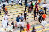 Busy pedestrian crossing at Hong Kong — Stock Photo