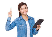 Asian young woman in jeans shirt — Stock Photo