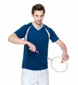 Jugador de bádminton en camiseta azul con raqueta — Foto de Stock