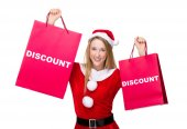 買い物袋のクリスマスの衣装の女性 — ストック写真