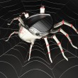 Cyber spider in the metal spiderweb — Stock Photo #51864569
