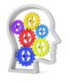 Human head profile with colorful cogwheels — Stock Photo