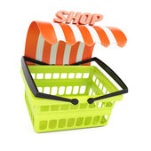 Shopping basket with shop awning — Stock Photo