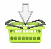 Shopping basket and pointing cursor — Stock Photo