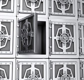Wall of steel safes — Stock Photo