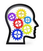 Human head profile with colorful gears — Stock Photo