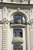 Latvia, Riga. Decorating a building balcony in the form of jugen — Stock Photo