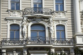 Riga. Decorating of a facade of the building in the form of jug — Stock Photo