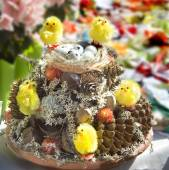Easter composition with eggs and chickens. — Stock Photo