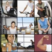 People exercising in gym — Photo