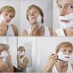 Man shaving in bathroom — Stock Photo #57275139
