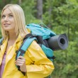 Female backpacker looking away — Stock Photo #57277515