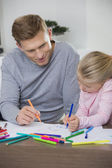 Father and daughter drawing — Stock Photo