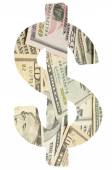Banknotes in dollar sign — Stock Photo