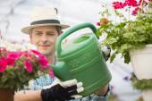 Man watering flower plants — Stock Photo