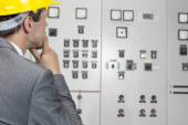 Supervisor examining control room — Stock Photo