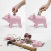 Man saving money into piggybank — Stock Photo