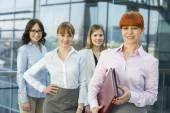 Businesswoman holding folder — Stock Photo