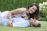 Couple having leisure time in park — Stock Photo