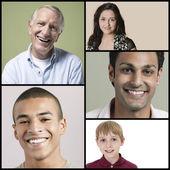 Multi-ethnic people smiling — Stock Photo