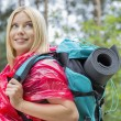 Female backpacker in raincoat looking away — Stock Photo #57283687