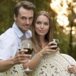 Young couple having red wine — Stock Photo #57284151