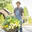 Gardener pushing wheelbarrow — Stock Photo #57288431