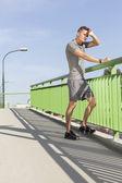 Man wiping sweat — Stock Photo