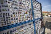 Earrings stall on charles Bridge — Stock Photo