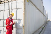 Worker inspecting cargo container — Stock Photo