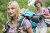 Female backpacker looking away — Stock Photo