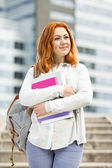 Woman at college campus — Stock Photo