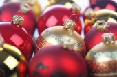 Red Christmass baubles — Stock Photo