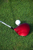Golf club hitting ball — Foto Stock