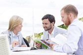 Businesspeople reading menu — Stock Photo