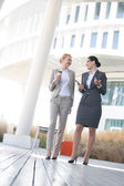 Businesswomen conversing outside  building — Stock Photo