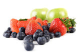 Blueberries, apples and strawberries — Stock Photo