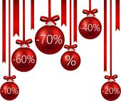Sale background with christmas balls. — Vector de stock