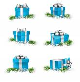 Set of realistic 3d gift boxes. — Stock Vector