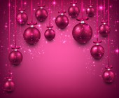 Arc background with magenta christmas balls.  — Stock Vector