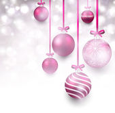Background with magenta christmas balls.  — Stock Vector