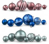 Juego de bolas de navidad colorida. — Vector de stock